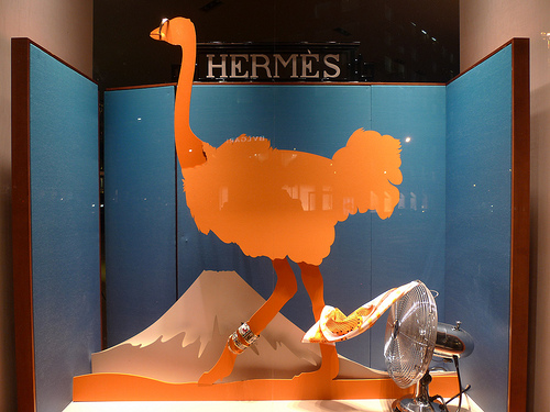 vitrine Hermes autruche decoupee