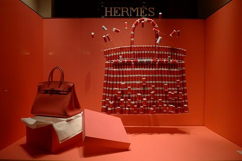 vitrine hermes sac à main bobines de fils 2011
