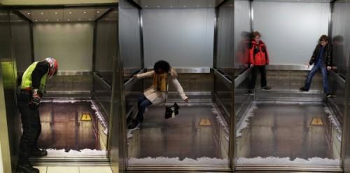 Trompe l 39 oeil dans un ascenseur vertige assur 20 for Trompe l oeil sol