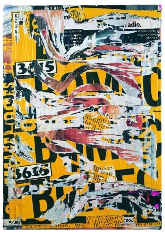Jacques Villeglé, Bas-Meudon, série «La Lettre Lacérée», janvier 1991, 165x119cm